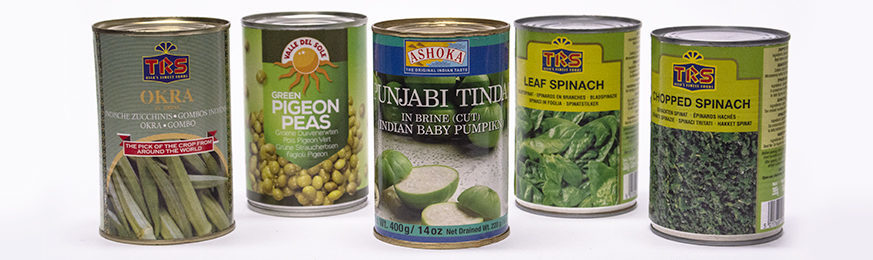 Fruits and vegetables in tin